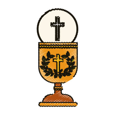 faithful: Cross and cup icon. Religion god pray faith and believe theme. Isolated design. Vector illustration