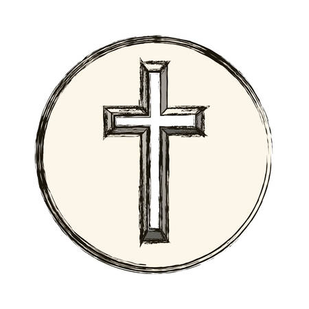believe: Cross icon. Religion god pray faith and believe theme. Isolated design. Vector illustration