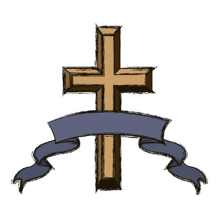 faithful: Cross and ribbon icon. Religion god pray faith and believe theme. Isolated design. Vector illustration