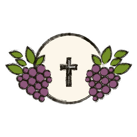 eligion: Cross and grapes  icon. Religion god pray faith and believe theme. Isolated design. Vector illustration