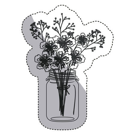 Flowers inside mason jar icon. Decoration floral nature and plant theme. Isolated design. Vector illustration Illustration