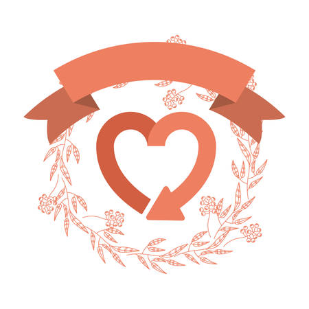 recycle icon: Recycle heart sign icon. Ecology renewable conservation and alternative theme. Isolated design. Vector illustration Illustration
