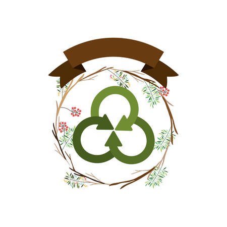 Recycle sign icon. Ecology renewable conservation and alternative theme. Isolated design. Vector illustration