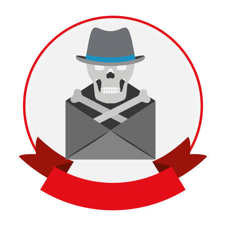 piracy: Envelope and skull icon. Security system warning protection and danger theme. Isolated design. Vector illustration