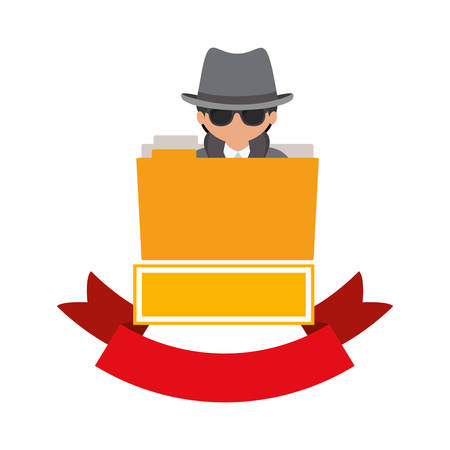 File and hacker icon. Security system warning protection and danger theme. Isolated design. Vector illustration Illustration