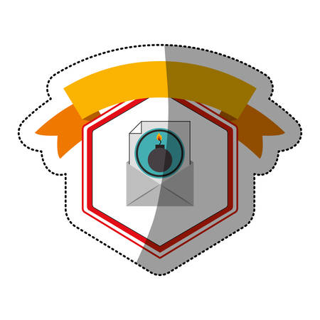 explosive hazard: Envelope and bomb icon. Security system warning protection and danger theme. Isolated design. Vector illustration