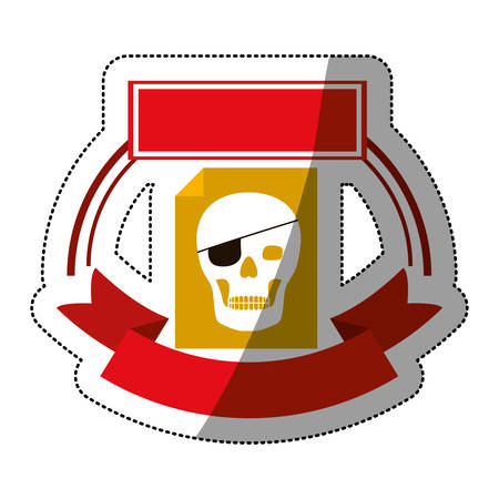 piracy: File icon. Security system warning protection and danger theme. Isolated design. Vector illustration