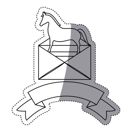 Envelope and horse icon. Security system warning protection and danger theme. Isolated design. Vector illustration Illustration