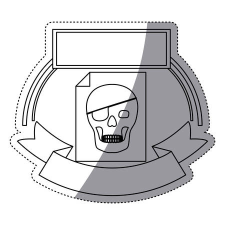 piracy: Skull and document icon. Security system warning protection and danger theme. Isolated design. Vector illustration