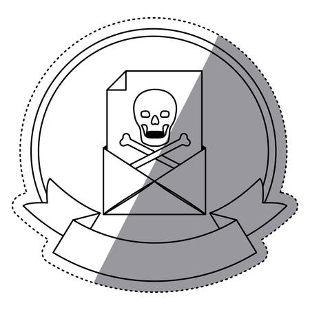 Envelope and skull icon. Security system warning protection and danger theme. Isolated design. Vector illustration