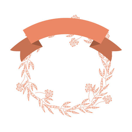 art product: Ribbon and wreath icon. Art decoration shop product and card theme. Isolated design. Vector illustration Illustration