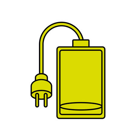 Battery and plug icon. Energy power technology and electricity theme. Isolated design. Vector illustration