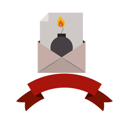 Bomb and envelope icon. Security system warning protection and danger theme. Isolated design. Vector illustration