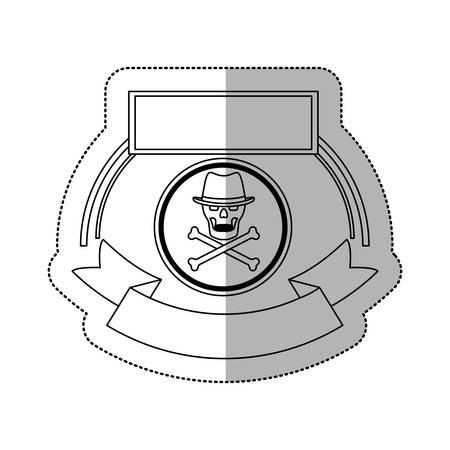 piracy: Skull icon. Security system warning protection and danger theme. Isolated design. Vector illustration