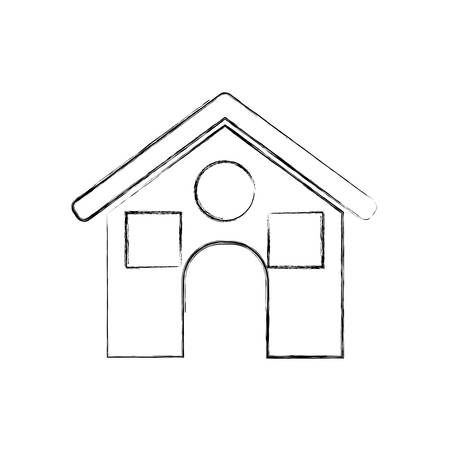 residential neighborhood: House icon. Home real estate building and residential theme. Isolated design. Vector illustration