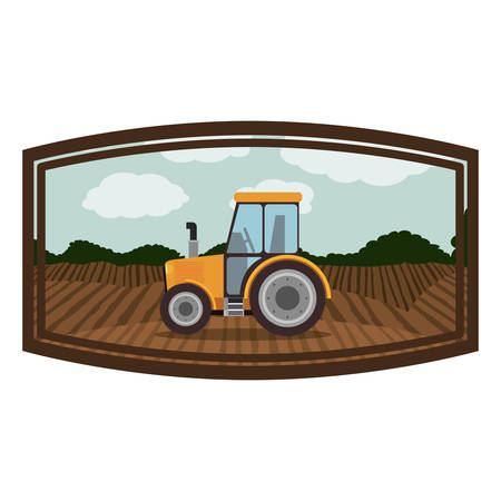 cultivated: Tractor vehicle icon. Machine tool instrument farm and agriculture theme. Isolated design. Vector illustration Illustration