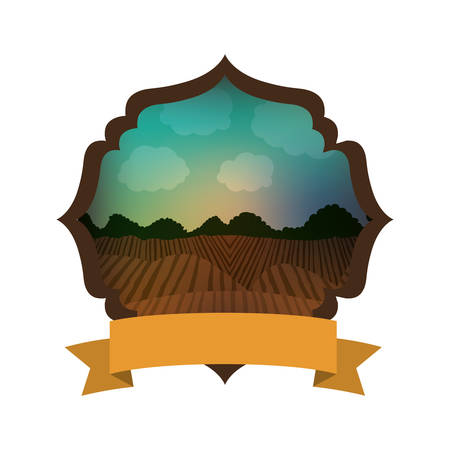 cultivating: Agriculture landscape inside frame icon. Nature rural farming and harvest theme. Isolated design. Vector illustration