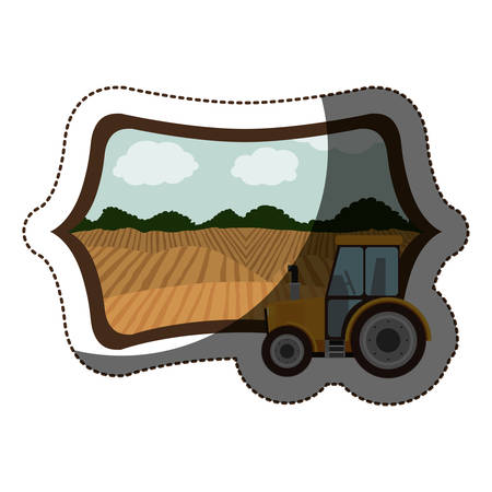 cultivating: Tractor vehicle icon. Machine tool instrument farm and agriculture theme. Isolated design. Vector illustration Illustration