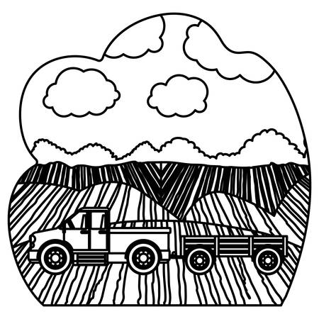 cultivating: Truck vehicle icon. Machine tool instrument farm and agriculture theme. Isolated design. Vector illustration