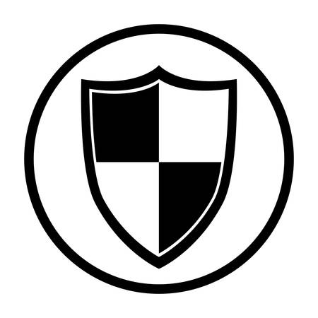 detected: Shield icon. Security system warning protection and danger theme. Isolated design. Vector illustration