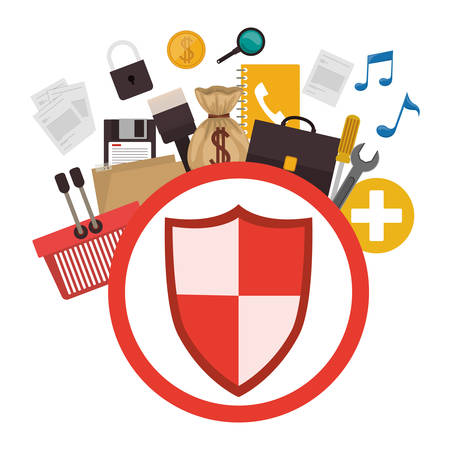 Shield icon. Security system warning protection and danger theme. Isolated design. Vector illustration