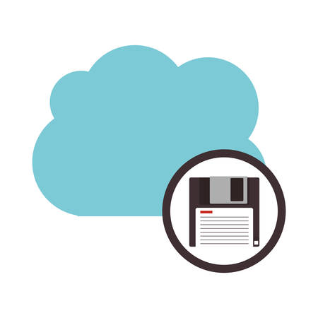 Dikette and cloud computing icon. Storage technology and virtual theme. Isolated design. Vector illustration