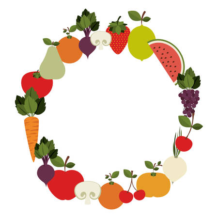 silhouette colorful with circle of fruits and vegetable vector illustration