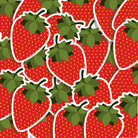 silhouette colorful pattern with strawberrys fruit vector illustration Illustration