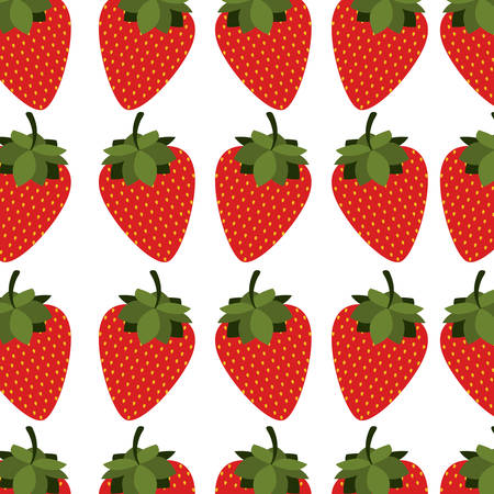 colorful pattern with strawberrys fruit vector illustration Illustration