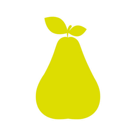 stem: silhouette green color pear with stem and leafs vector illustration Illustration