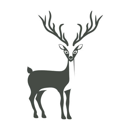 monochrome silhouette with reindeer of long horns vector illustration Illustration