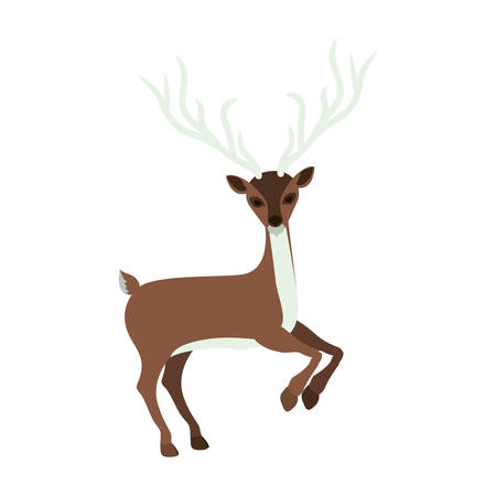 colorful silhouette with reindeer jumping vector illustration Illustration