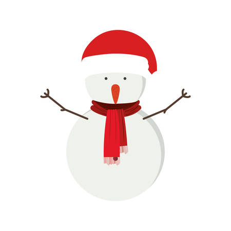 snowman with red hat and scarf vector illustration