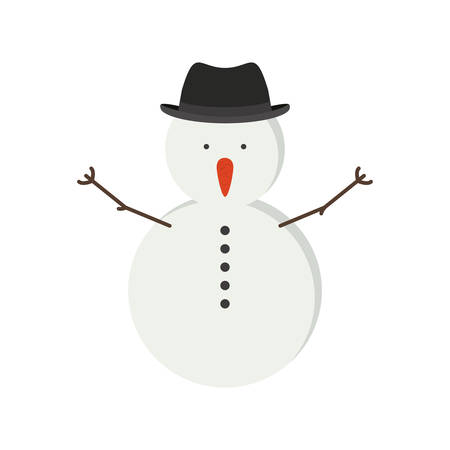snowman with black hat and shirt button vector illustration
