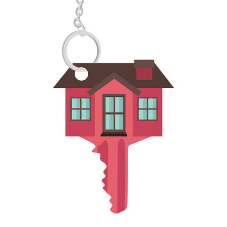 silhouette key red color with shape house vector illustration
