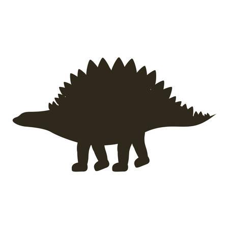 monochrome silhouette with dinosaur stegosaurus vector illustration