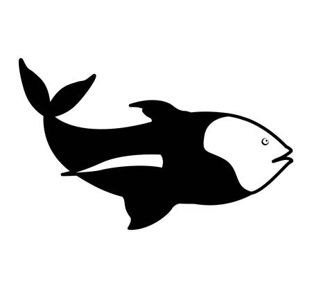 shoal: monochrome silhouette with sea fish with tail up. Vector illustration