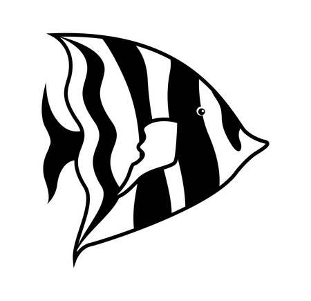 shoal: monochrome silhouette with sea fish to striped vector illustration