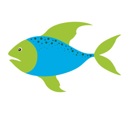 fins: colorful silhouette with sea fish blue and fins green and dots vector illustration