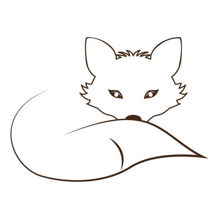 lying down: silhouette contour monochrome with fox lying down vector illustration