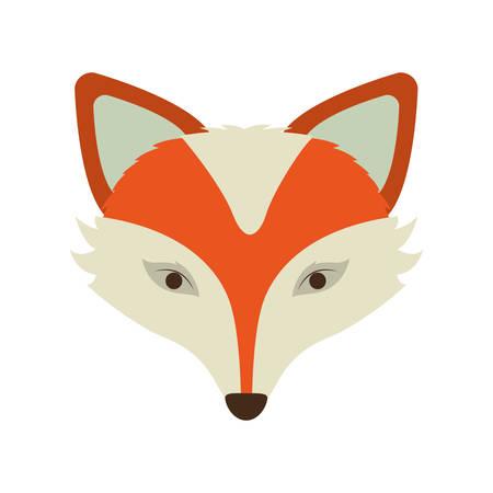 silhouette orange color of fox face vector illustration