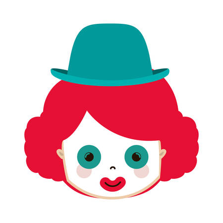 front face funny small clown with hat vector illustration Illustration