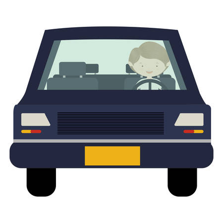 car front view: man driving car front view vector illustration