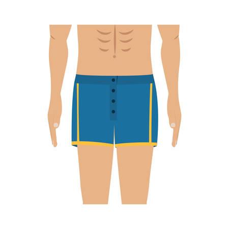 boy underwear: half body men with blue swimming short vector illustration Illustration