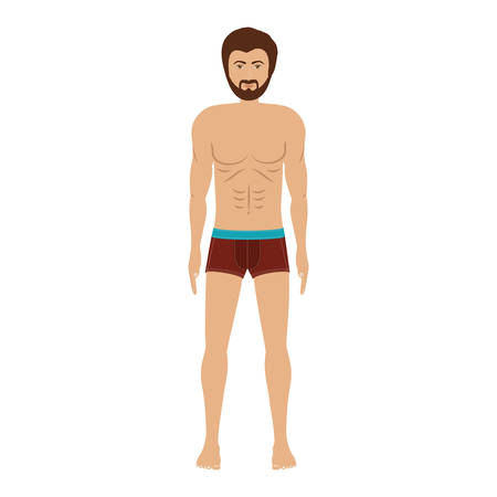 men with brown swimming boxer vector illustration