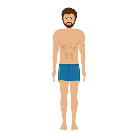 men with blue swimming trunk vector illustration Illustration