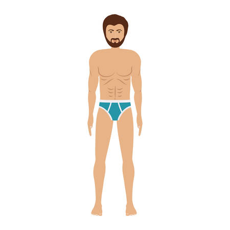 swimwear: men with blue swimming boxer vector illustration