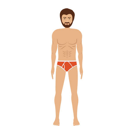 men with red swimming short vector illustration