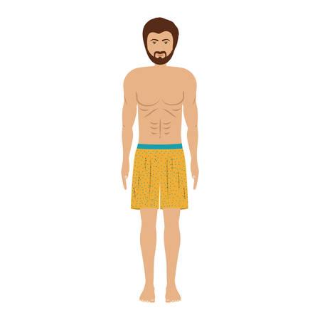 men with yellow swimming short vector illustration Stock Vector - 67135843