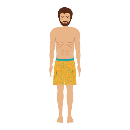 men with yellow swimming short vector illustration Illustration